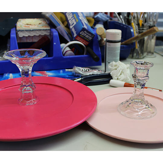 Gluing the Cake Stands