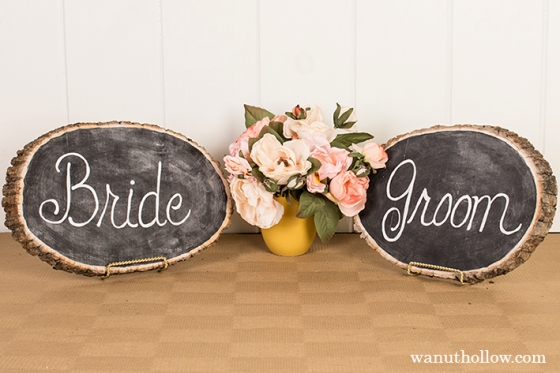 chalkboard Bride and Groom Signs