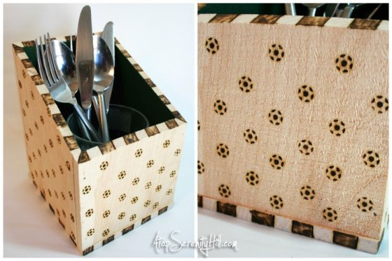 Wood burned patterns on a rustic bin create a create serving piece for a party • AtopSerenityHill.com