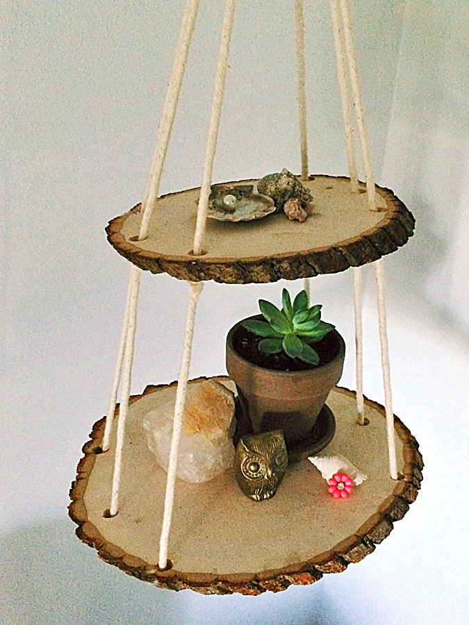 2 Tier Wood Slice Hanging Shelf | walnuthollowcrafts