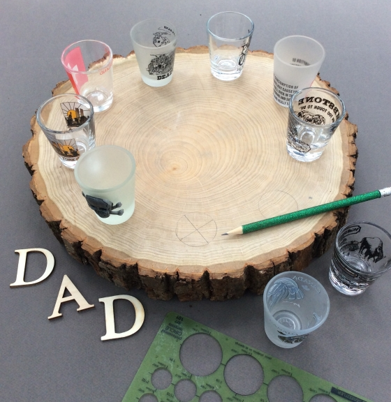 how to make a shot glass wood tray, stefanie Girard