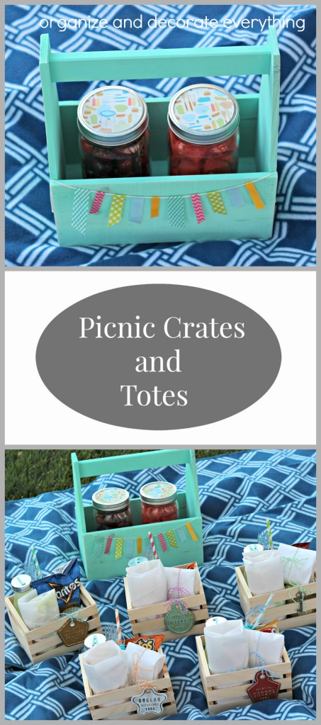 Individual Picnic Crates and Totes are perfect for Summer picnics at the park