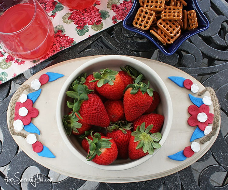 Patriotic Wood Tray With Clay Flowers Walnuthollowcrafts