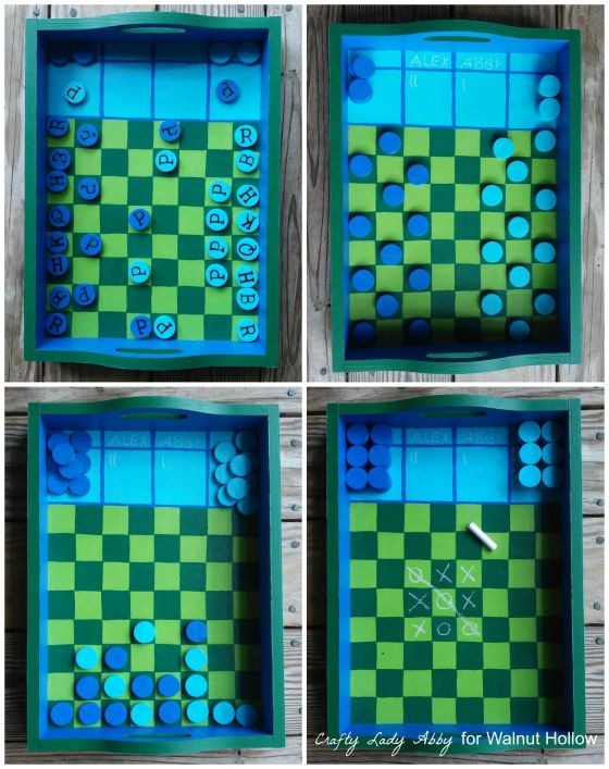 Chalkboard Checkerboard Game Tray and Pieces Collage