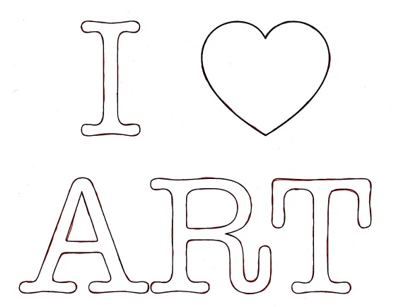 I heart art, I love art, template