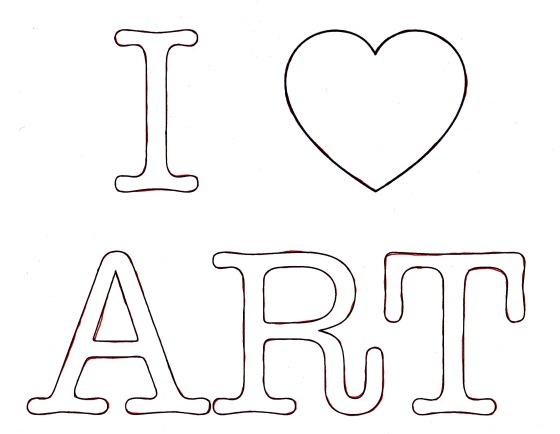 I heart art, I love art, template