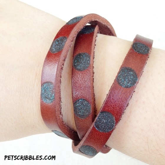 leather burned and painted bracelet