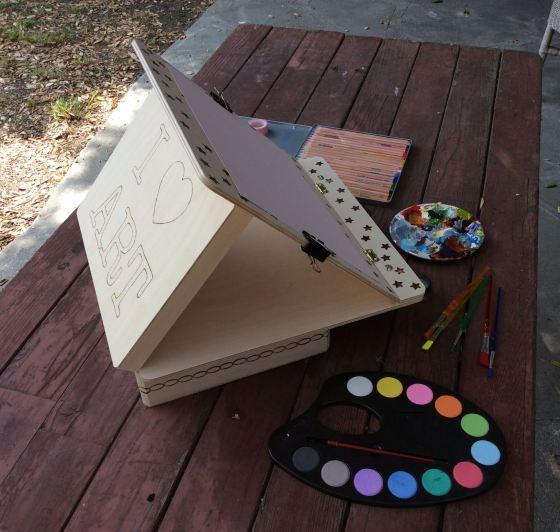 Walnut Hollow art box and easel, stefanie girard