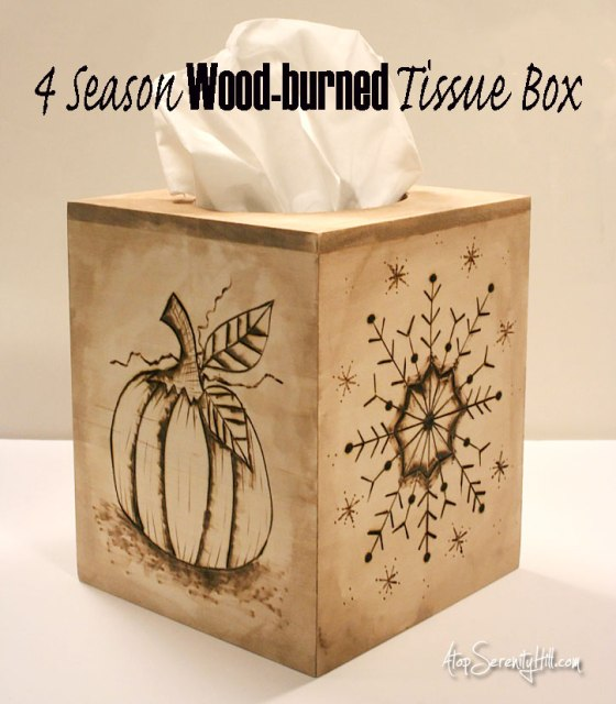 4 season wood burned tissue box from Walnut Hollow wood crafts • AtopSerenityHill.com #homedecor #woodburning #holidaydecorating