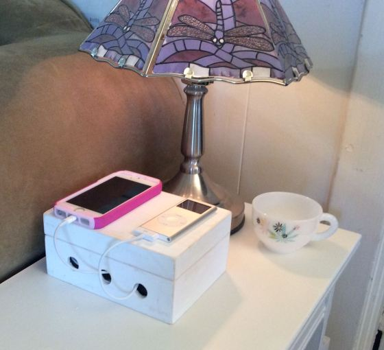 Charging Station cord box, Stefanie Girard, Walnut Hollow