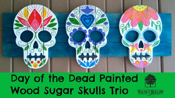 Day of the Dead Painted Wood Sugar Skulls Trio VIDEO HEADER