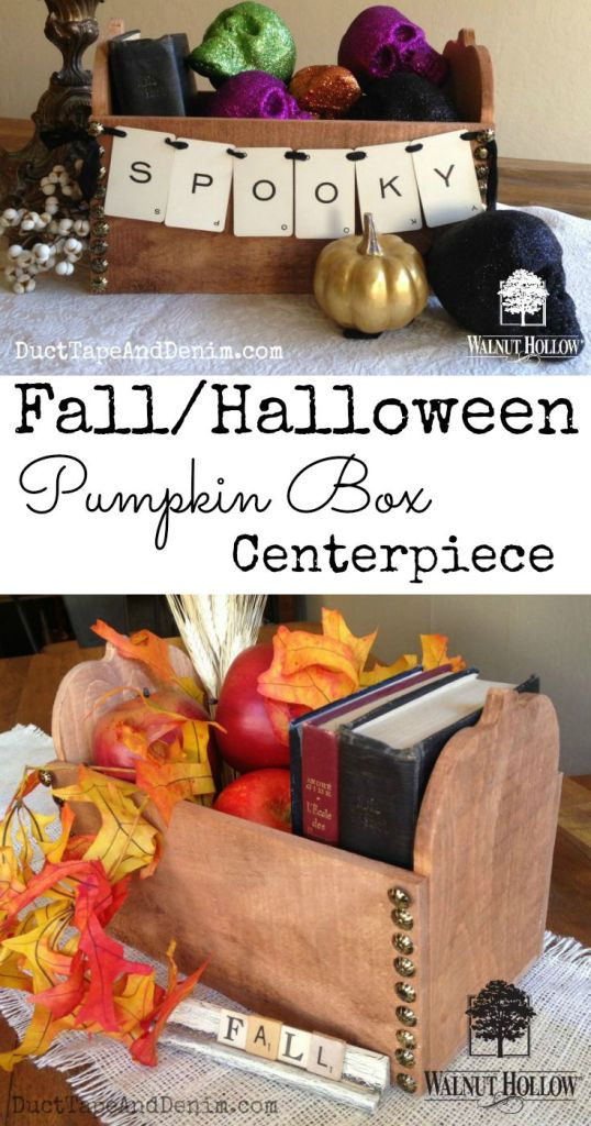 Fall Halloween wood pumpkin box centerpiece