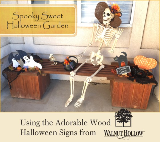 Make your own Halloween Garden with Walnut Hollow wooden Halloween signs