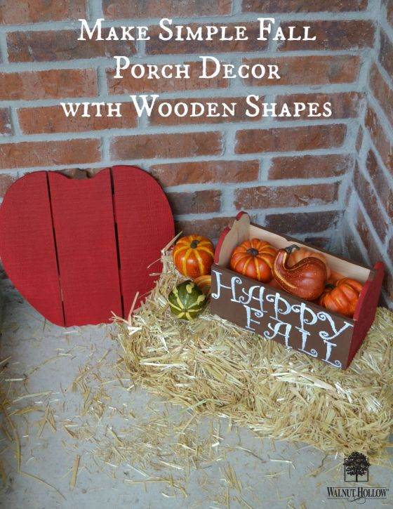 Paint pumpkins like apples for sweet fall porch decor.