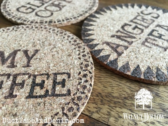 Close up of personalized cork coasters