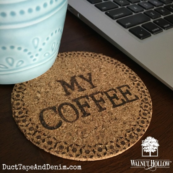 My Coffee personalized wood burned cork coaster