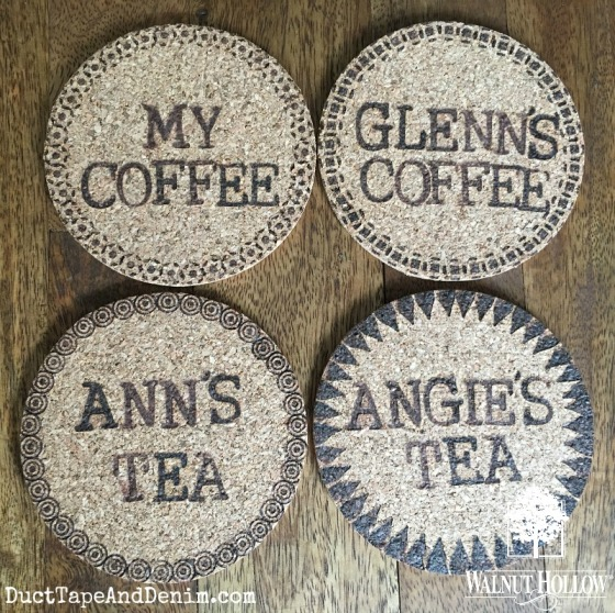 Personalized cork coasters - coffee or tea