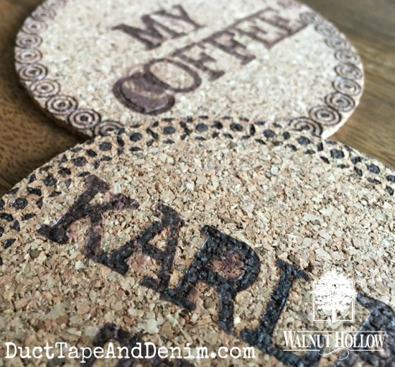 Personalized cork coasters wood burned