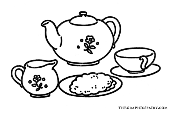 vintage tea set line art