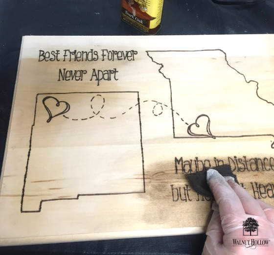 WH wood burned state gift - stain the wood