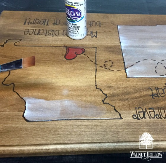 WH wood burned state sign - paint the states