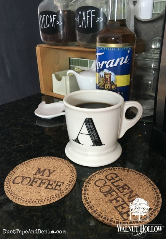 Wood burned personalized cork coffee coasters