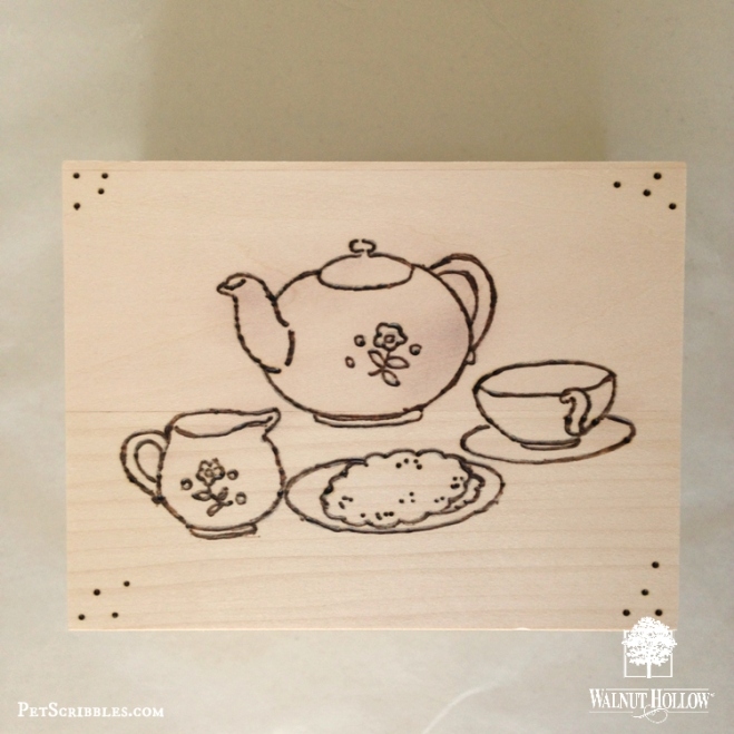 Wood Burned Tea Box