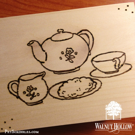 wood burned vintage tea set image