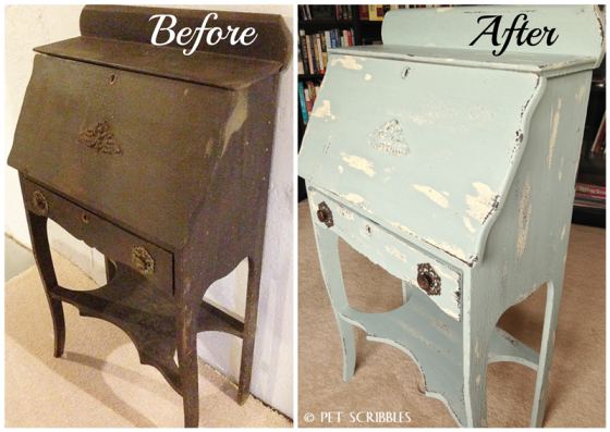 Chippy Paint Antique Desk before and after