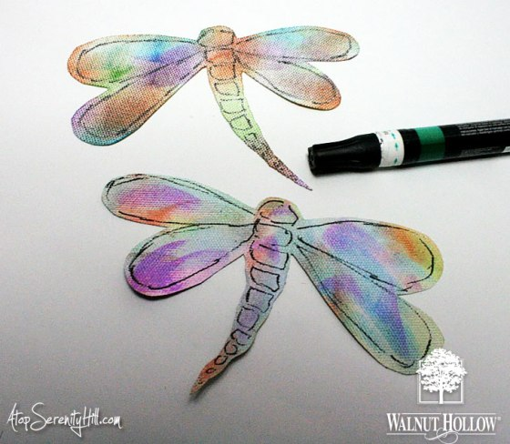 Dragonfly mobile using products from Walnut Hollow, Clearsnap and Tombow! • AtopSerenityHill.com