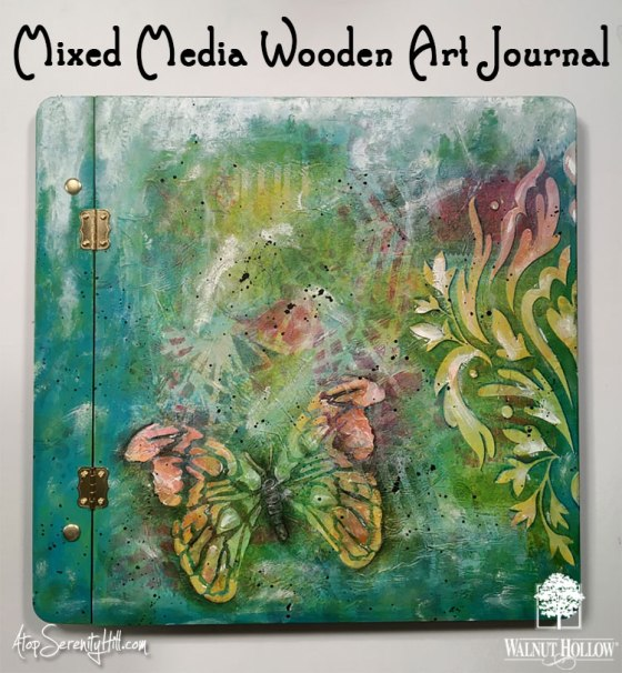 Mixed Media Wooden Art Journal using the memory album cover from Walnut Hollow • AtopSerenityHill.com #mixedmedia #artjournaling #stencils