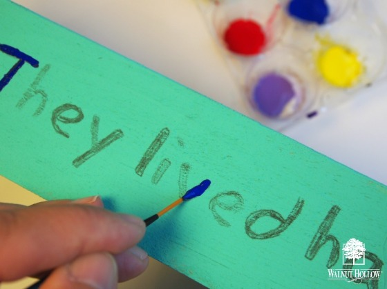 Painting Quote Onto Kid's Book shelf
