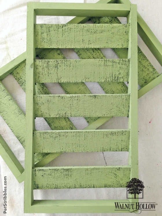 green chalky painted shutters