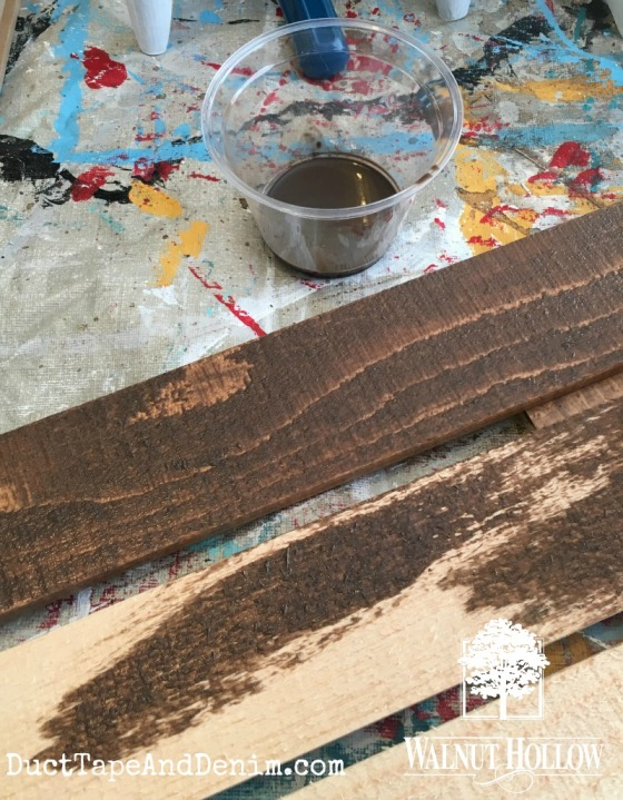staining rustic pallet