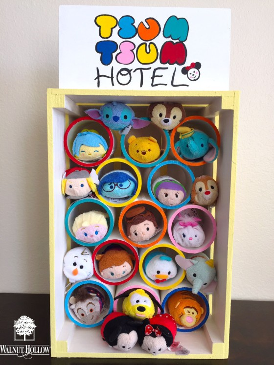 Tsum Tsum Hotel with Walnut Hollow Rustic Crate and Table Top Sign