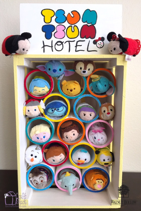 Tsum Tsum Storage Hotel with Walnut Hollow Rustic Crate and Table Top Sign