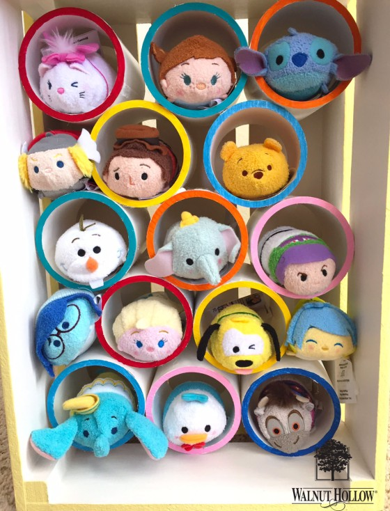 Tsum Tsum Storage PVC pipes inside a Walnut Hollow Rustic Crate