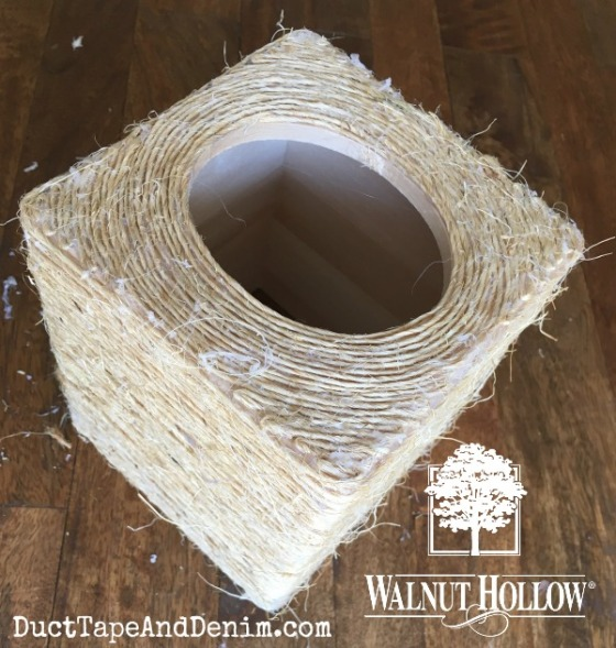 Finished wrapping sisal around wood tissue box copy