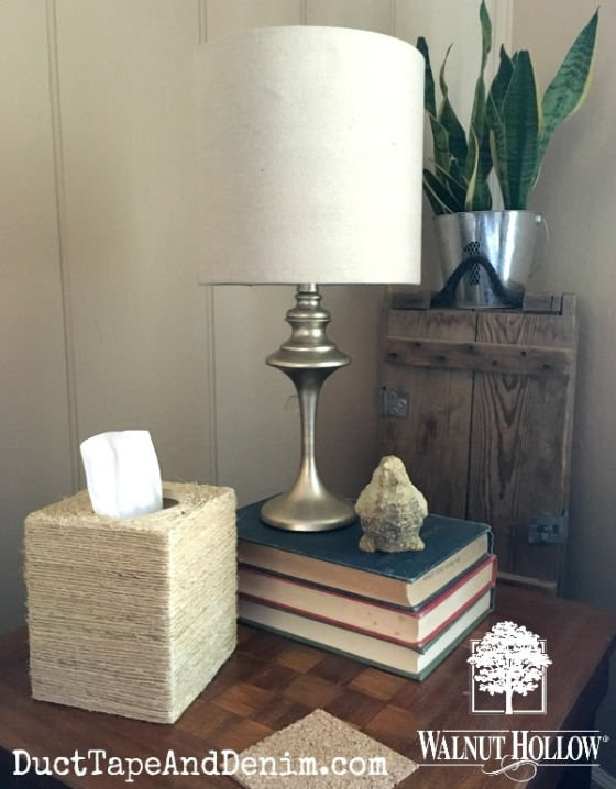 Sisal tissue box on our checkerboard table copy