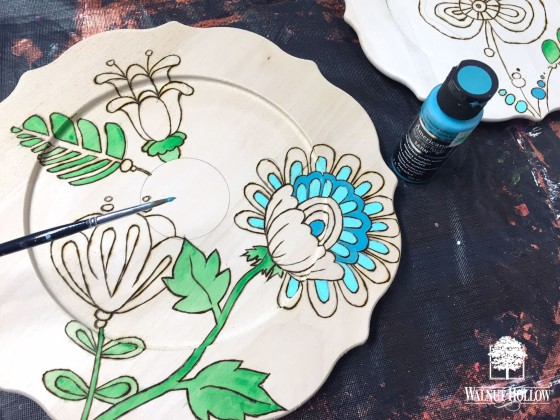 painting the coloring book flowers