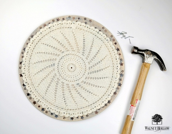 Doily Clock Face by Dana Tatar for Walnut Hollow