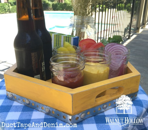 Finished condiment tray by pool