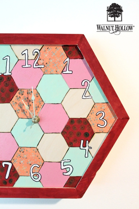 diy wood hexagon clock (1)