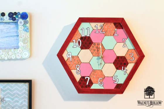 diy wood hexagon clock (8)