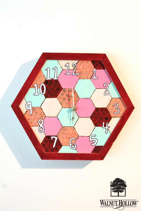 diy wood hexagon clock (9)