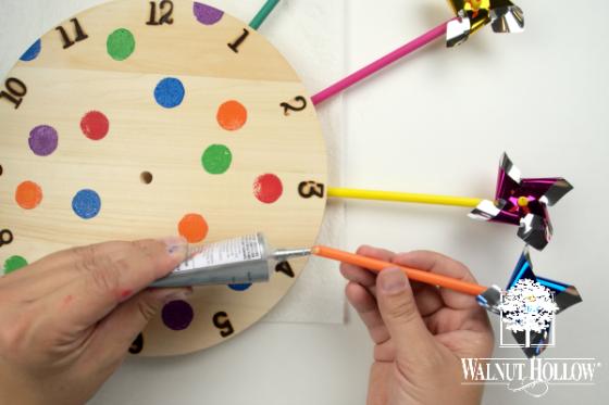 Glueing Pinwheels to Clock