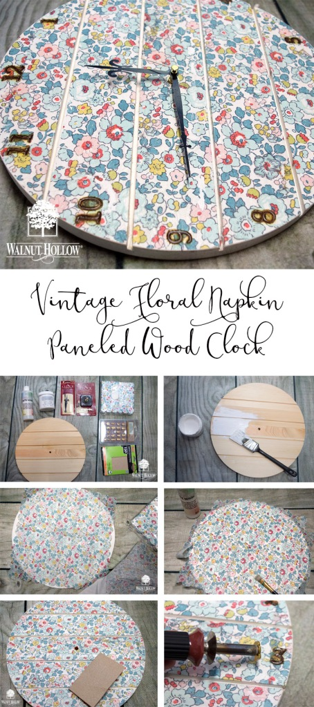 It's easy to make this decoupage paneled wood clock with a simple paper napkin.