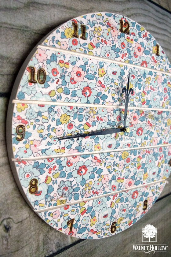 Add the clock hands to your decoupaged floral wood clock