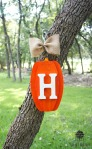 WH wood pumpkin decor