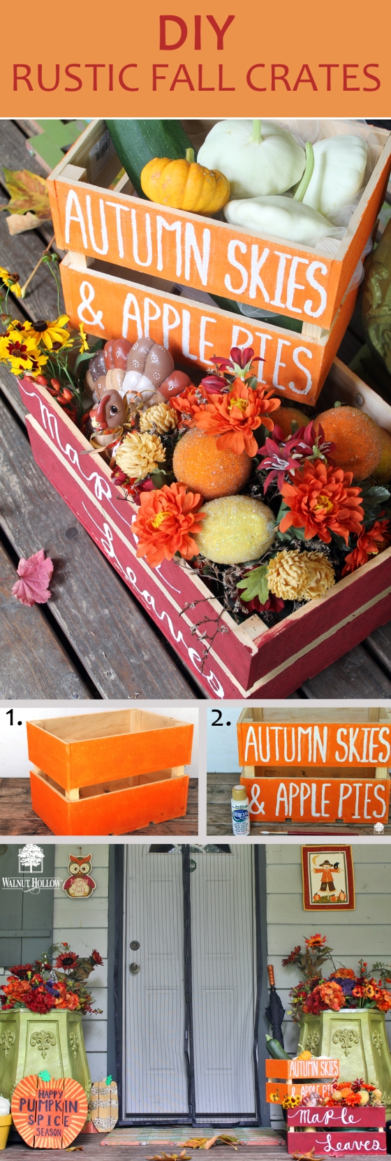 diy fall crates porch decor pin